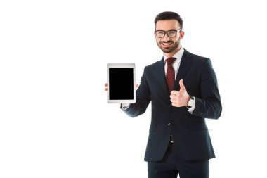 cheerful businessman holding digital tablet with blank screen and showing thumb up isolated on white