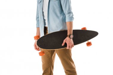 Cropped view of adult man holding longboard isolated on white stock vector