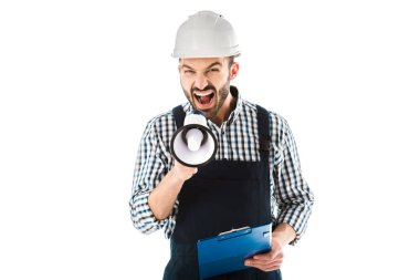 irritated foreman screaming in megaphone while holding clipboard and looking at camera isolated on white