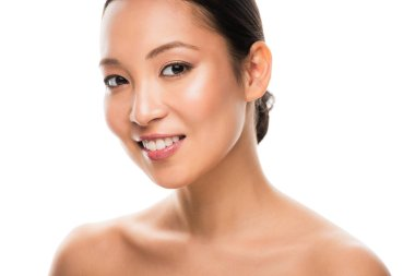 Smiling naked asian girl with clean face, isolated on white stock vector