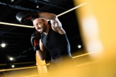 Photo low angle view of bearded and strong man boxing in gym