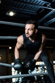 Photo handsome athletic man in boxing gloves standing near ropes in boxing ring