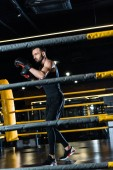 Photo selective focus of handsome man working out in boxing gloves while standing in boxing ring