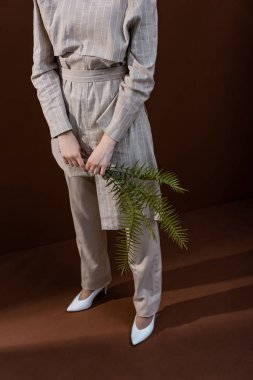 high angle view of young model holding fern leaves in hands, standing on brown background