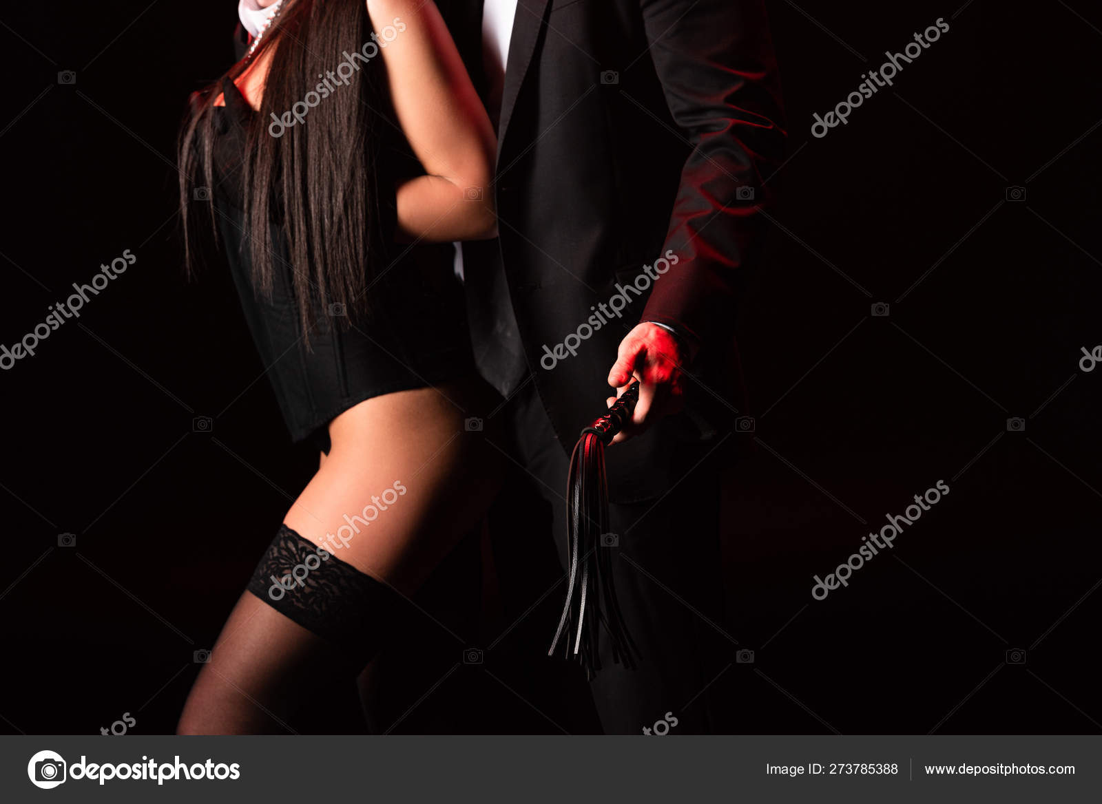 Partial View Bdsm Couple Flogging Whip Isolated Black ...