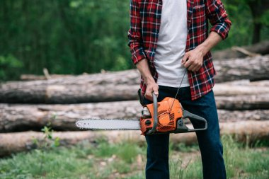 partial view of lumberjack in checkered shirt holding chainsaw in forest