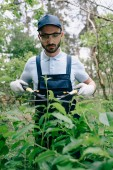 Photo attentive gardener in protective glasses and cap cutting bushes with trimmer in park