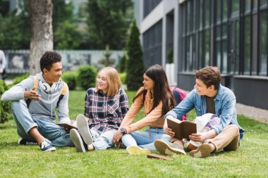 smiling teenagers sitting on grass, talking and holding books