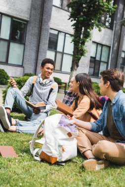 smiling and happy teenagers sitting on grass, talking, holding books