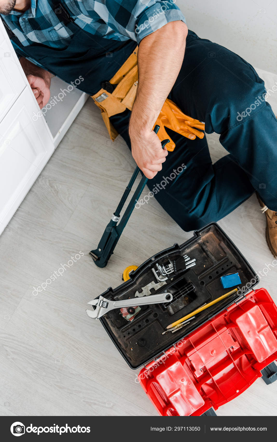 Cropped View Repairman Working Kitchen Cabinet Toolbox