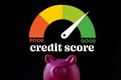 pink piggy bank near speed meter and credit score lettering on black