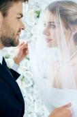 attraktive Braut und stattliche Bräutigam blick auf einander
