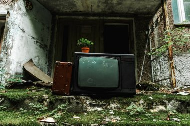retro tv near travel bag on green stairs with mold