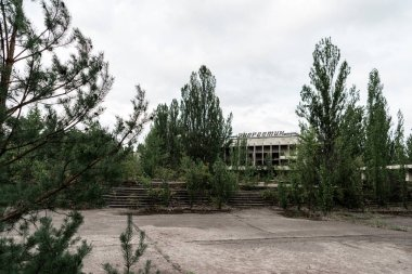 PRIPYAT, UKRAINE - AUGUST 15, 2019: selective focus of building with energetic lettering near green trees in chernobyl stock vector
