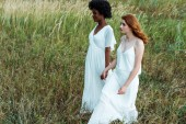 young and pretty multicultural women walking in green field