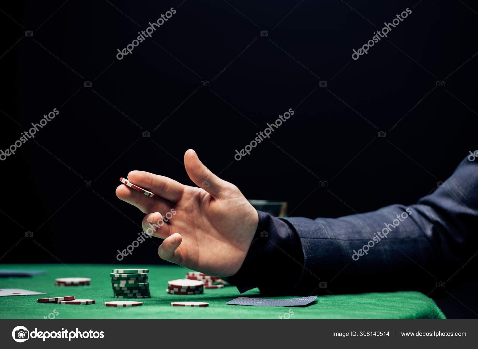 Kyiv Ukraine Harus 2019 Dipangkas Pandangan Manusia Memegang Koin Poker Stok Foto Editorial C Vitalikradko 308140514