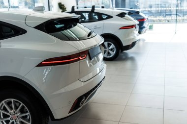Selective focus of white shiny cars in car showroom stock vector