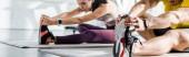 panoramatický záběr sportovce a sportovkyně roztahující se na fitness podložky ve sportovním centru