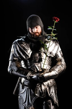 Handsome knight in armor holding rose isolated on black stock vector