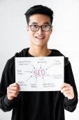 Photo smiling asian seo manager holding paper with concept words of seo