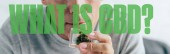 cropped view of man in t-shirt holding medical cannabis in glass container, panoramic shot with what is CBD question