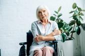 Fotografie Seniorin sitzt im Rollstuhl und schaut in Wohnung in Kamera