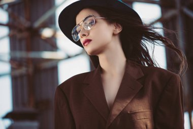 Stylish elegant woman posing in hat, eyeglasses and brown jacket on roof stock vector