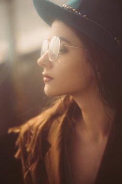 Beautiful elegant woman posing in hat, eyeglasses and brown jacket on roof stock vector