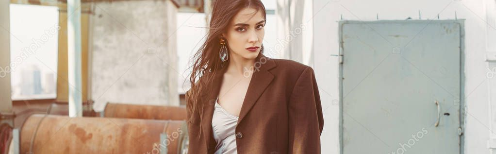 Attractive elegant model posing in silk dress and brown jacket on roof stock vector