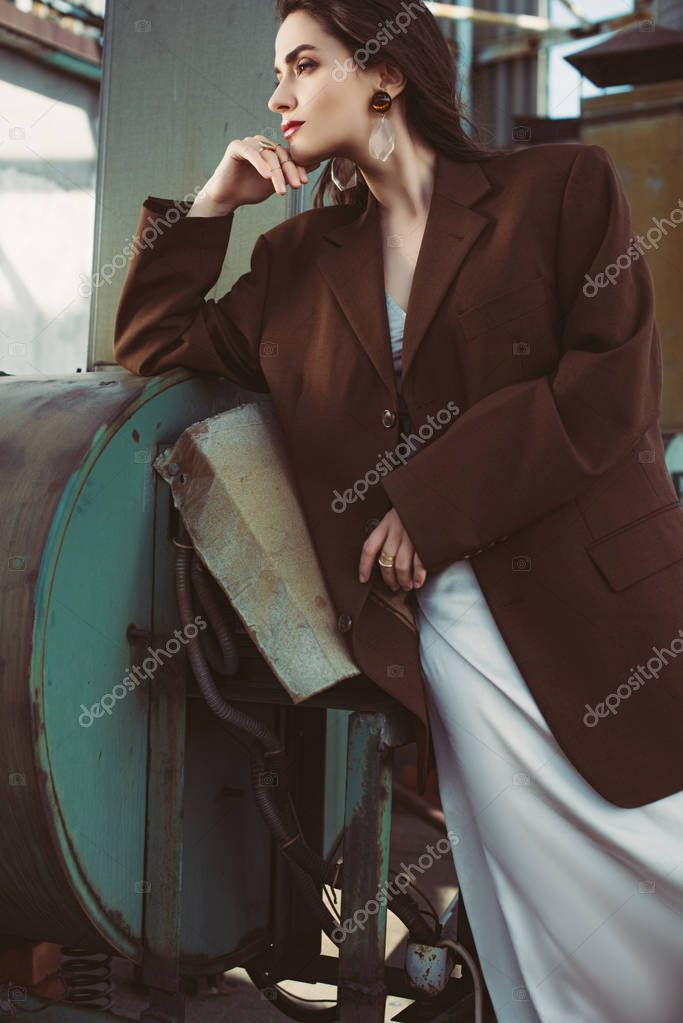 Elegant beauty posing in silk dress and brown jacket on roof stock vector