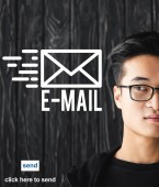Photo cropped view of asian man in glasses and e-mail illustration