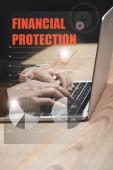Fényképek vágott kilátás hacker segítségével laptop és pénzügyi védelem illusztráció