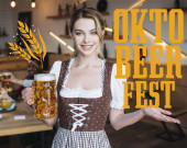 attraktive Kellnerin in deutscher Tracht mit einem Becher hellem Bier und Blick in die Kamera beim Oktoberfest Illustration