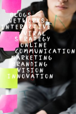 Cropped view of seo manager writing on glass with illustration of concept words of social media stock vector