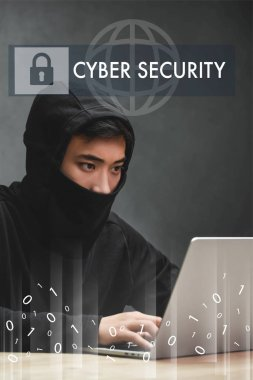 Asian hacker using laptop and sitting near cyber security illustration stock vector
