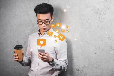 Asian seo manager holding paper cup, using smartphone with likes illustration stock vector