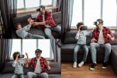 kollázs szakállas apa és göndör fiú virtuális valóság headset a nappaliban