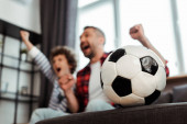 selective focus of football near cheerful father and son watching championship in living room