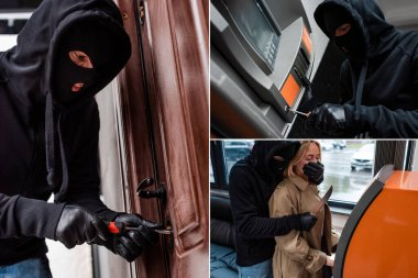 Collage of robber opening door lock and stealing woman near atm