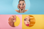collage of naked beautiful woman in paper circle hole on blue, yellow and pink background