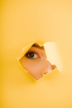 Cropped view of beautiful woman looking through yellow paper torn hole stock vector