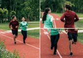 Koláž usmívajícího se páru běžícího společně na běžecké stezce v parku