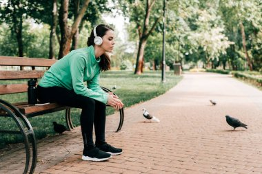 Side view of sportswoman in headphones sitting near sports bottle and smartphone on bench in park