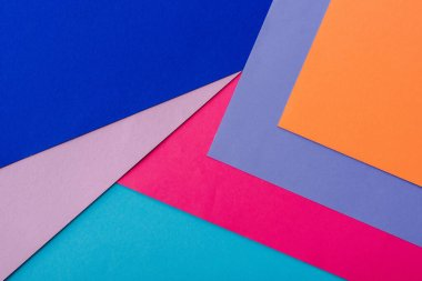Abstract geometric background with orange, pink, blue and violet paper stock vector