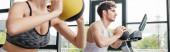 panoramatické plodiny sportovkyň a sportovců cvičení s míčky v tělocvičně