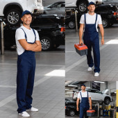 collage of happy mechanic in uniform and cap standing with crossed arms and walking with toolbox in car service