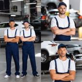 koláž šťastné mechaniky v uniformě stojící se zkříženýma rukama v autoservisu