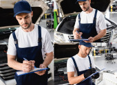koláž pohledné mechaniky v uniformě psaní při držení podložek v blízkosti aut