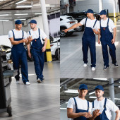 koláž pohledného mechanika v uniformě při pohledu na digitální tablet, chůze a ukazování prstem u spolupracovníka v autoservisu
