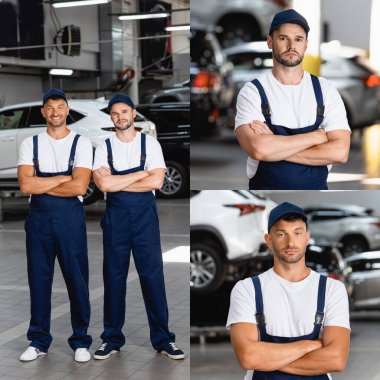 Collage of happy mechanics in uniform standing with crossed arms in car service stock vector